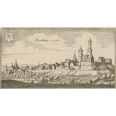 Homberg Ohm, Homberg von der Höhe, Hessen, Kupferstich, Fototapete Merian