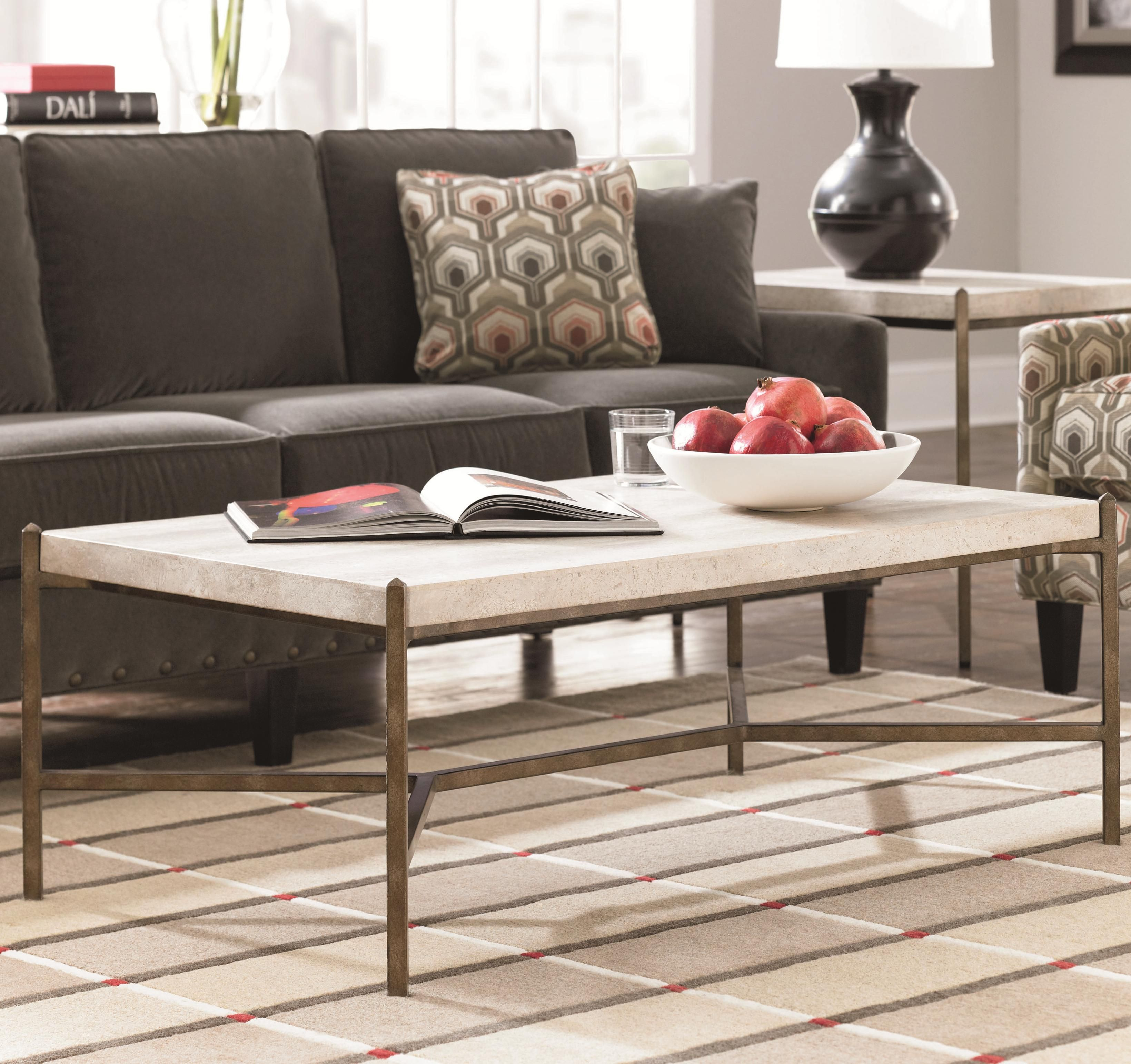 Cachet rectangular coffee table w travertine stone top by