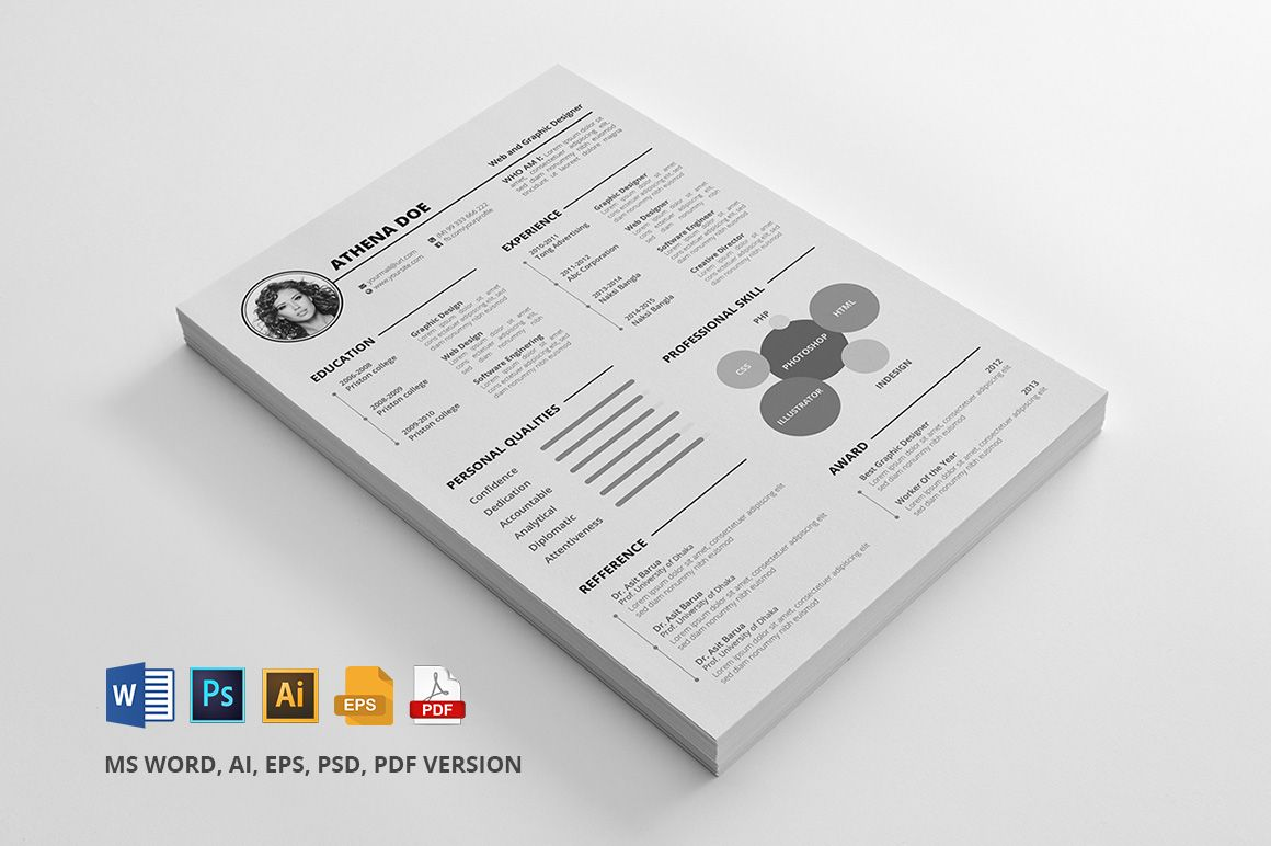 Free Resume/CV template for download in 100% editable MS Word EPS AI ...