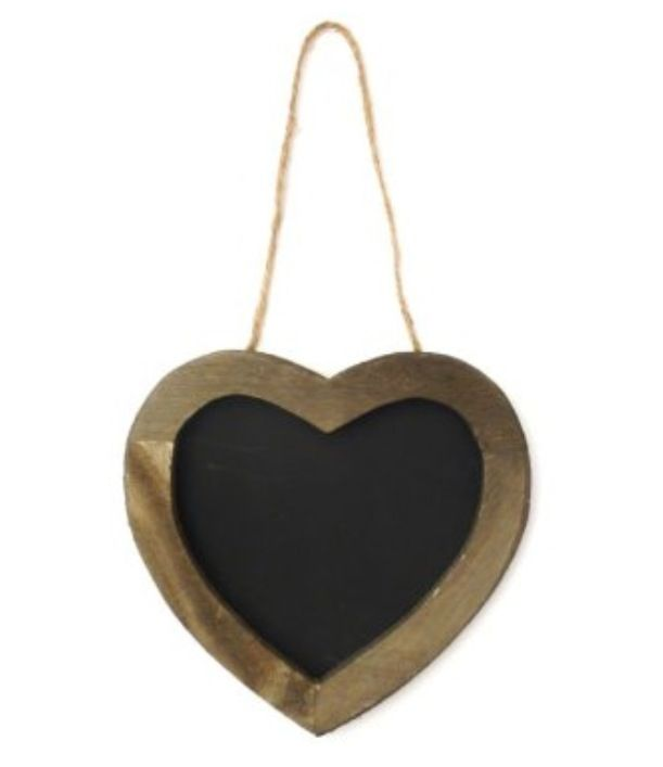 Heart chalk hanger for middle hook of shabby chic wall feature shelf