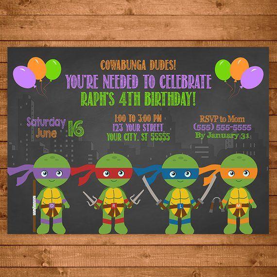 Teenage Mutant Ninja Turtles Invitation Chalkboard Illustrations