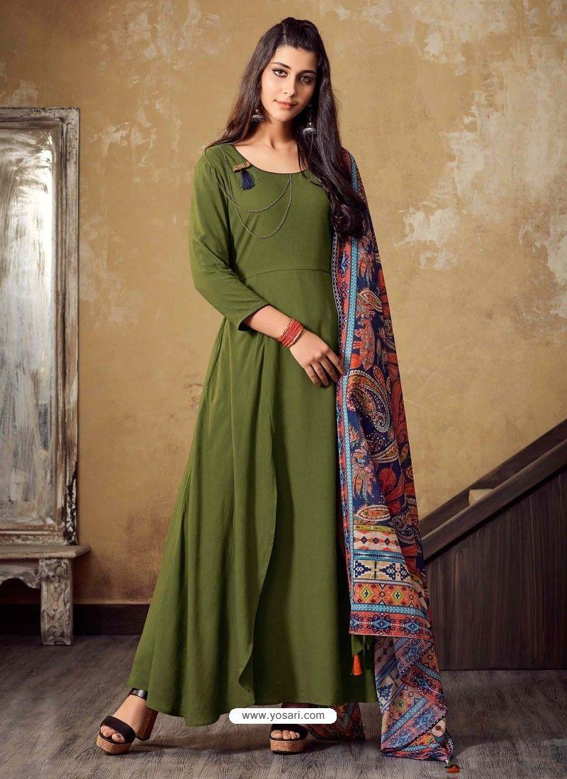 205c05be40 Mehendi Rayon Readymade Designer Long Kurti Fancy Kurti, Party Wear Kurtis,  Kurti Collection,