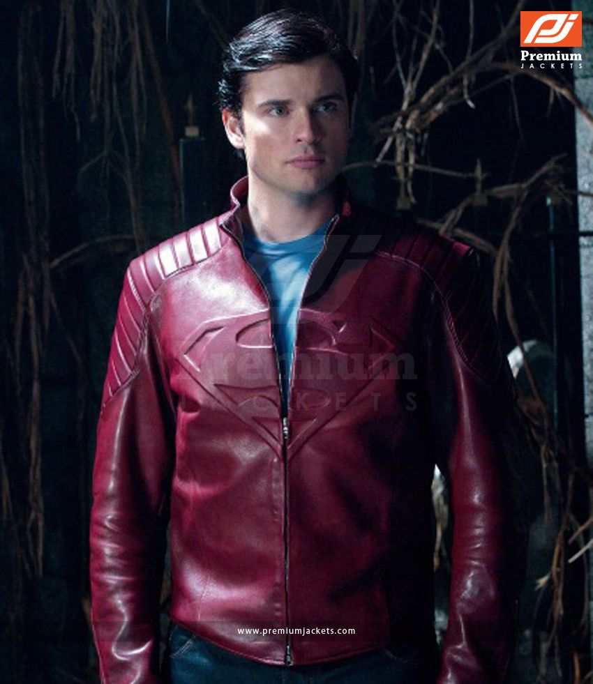 Smallville Superman Leather Jacket In Red Look Leather Jacket Red Leather Jacket Smallville [ 981 x 850 Pixel ]