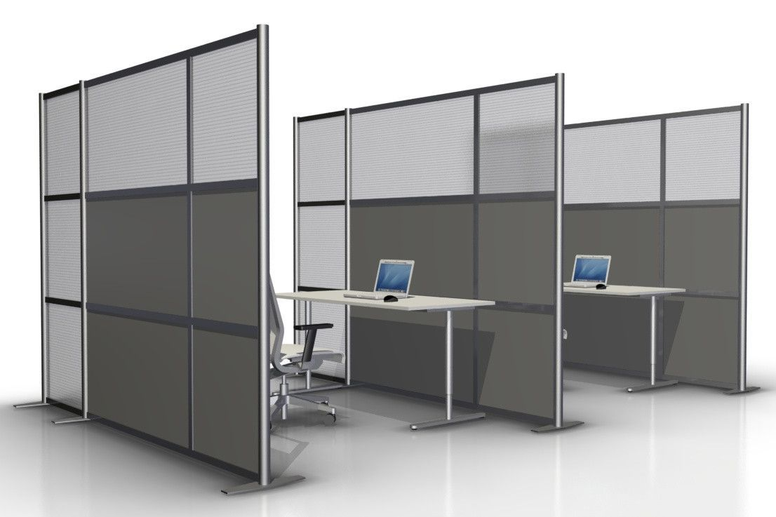 100 Wide X 75 High Office Partition Gray Translucent Office