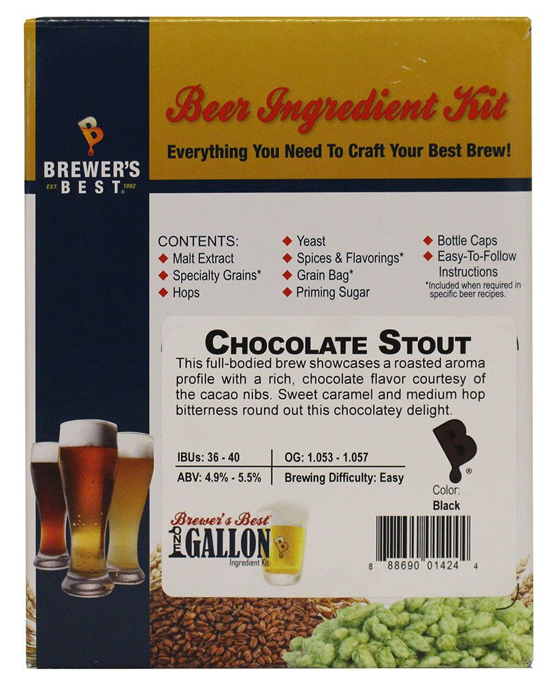 Chocolate Stout One Gallon Beer Ingredient Kit for Home Brew