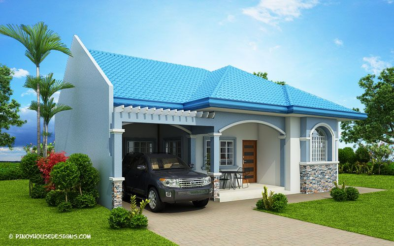 Myhouseplanshop Delightful Three Bedroom Blue Roof House Plan Small House Design Plans Modern Bungalow Modern Bungalow House Design