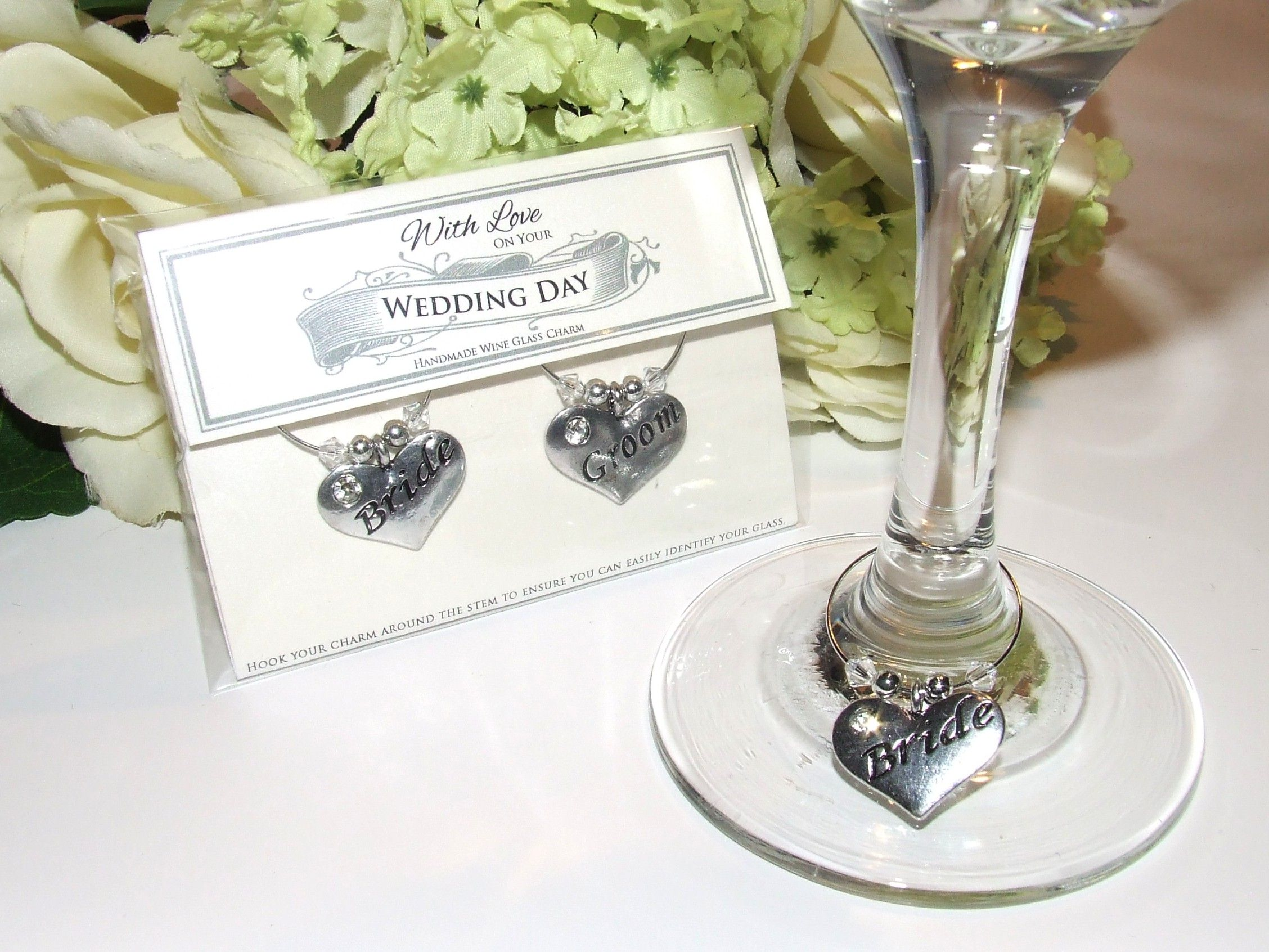 Bride & Groom Presentation Keepsake Wine Glass Charms | Wedding ...