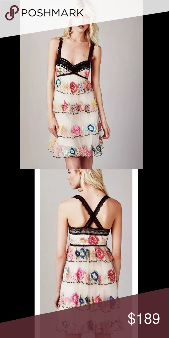 Free People Rambling Roses Dress 2 Gorgeous tulle dress with multicolored flowers Free People Dresses Mini