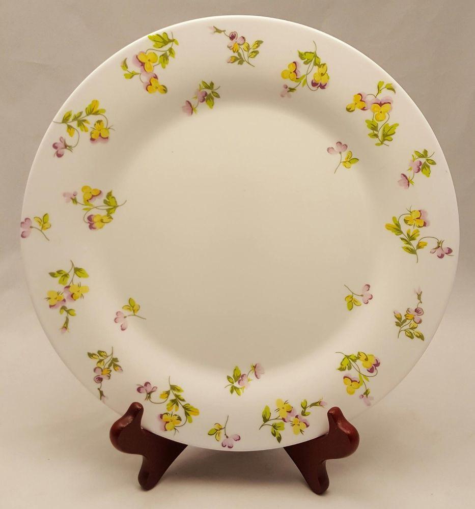 FRANCE MARTHA STEWART 10.5  DINNER PLATE YELLOW PURPLE PANSIES FLORAL ( 4 Avail) #MarthaStewart & FRANCE MARTHA STEWART 10.5