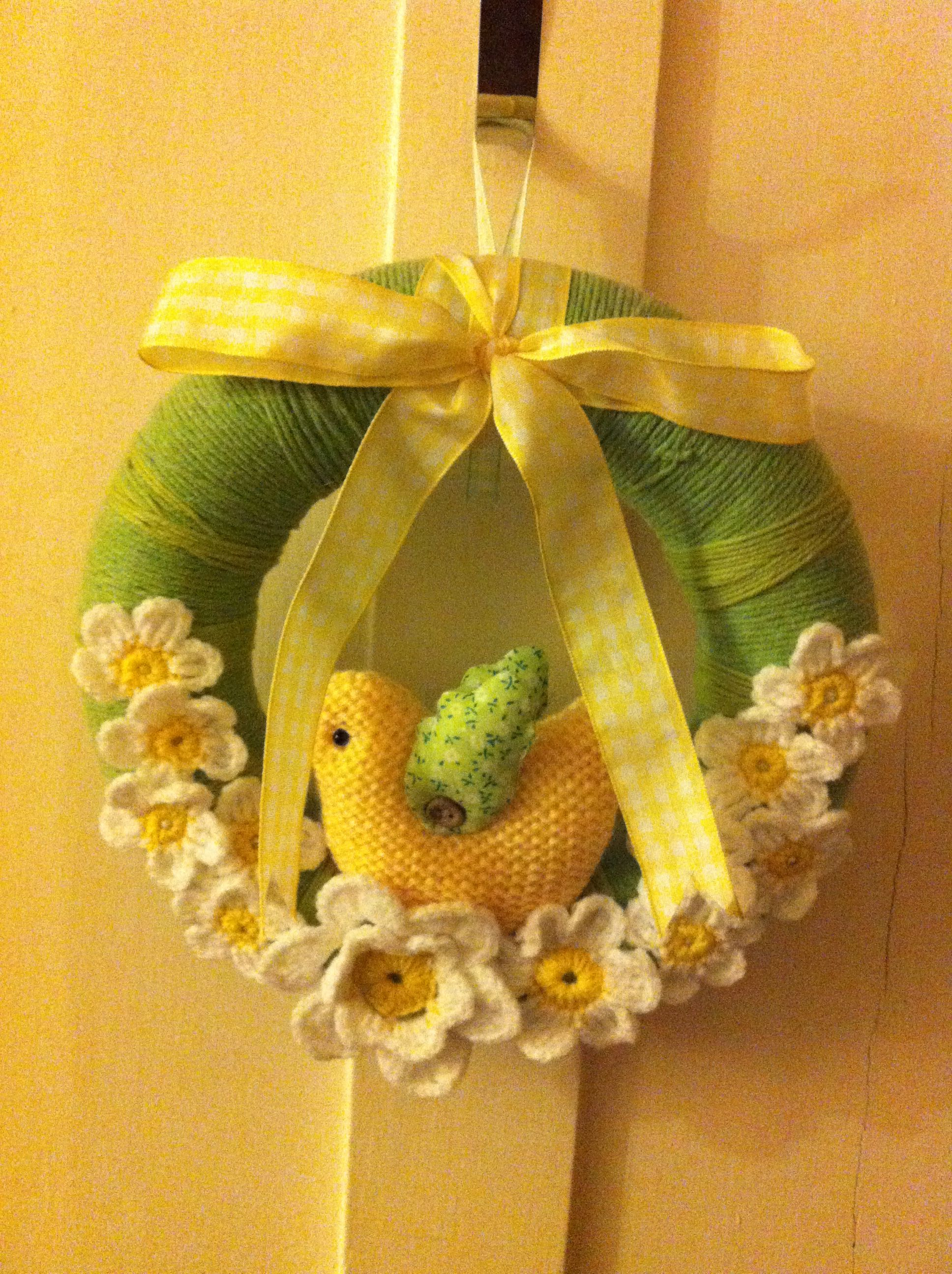 Knitted wedding decorations  Easter wreath with crochet flowers and knitted chick  So Jericho