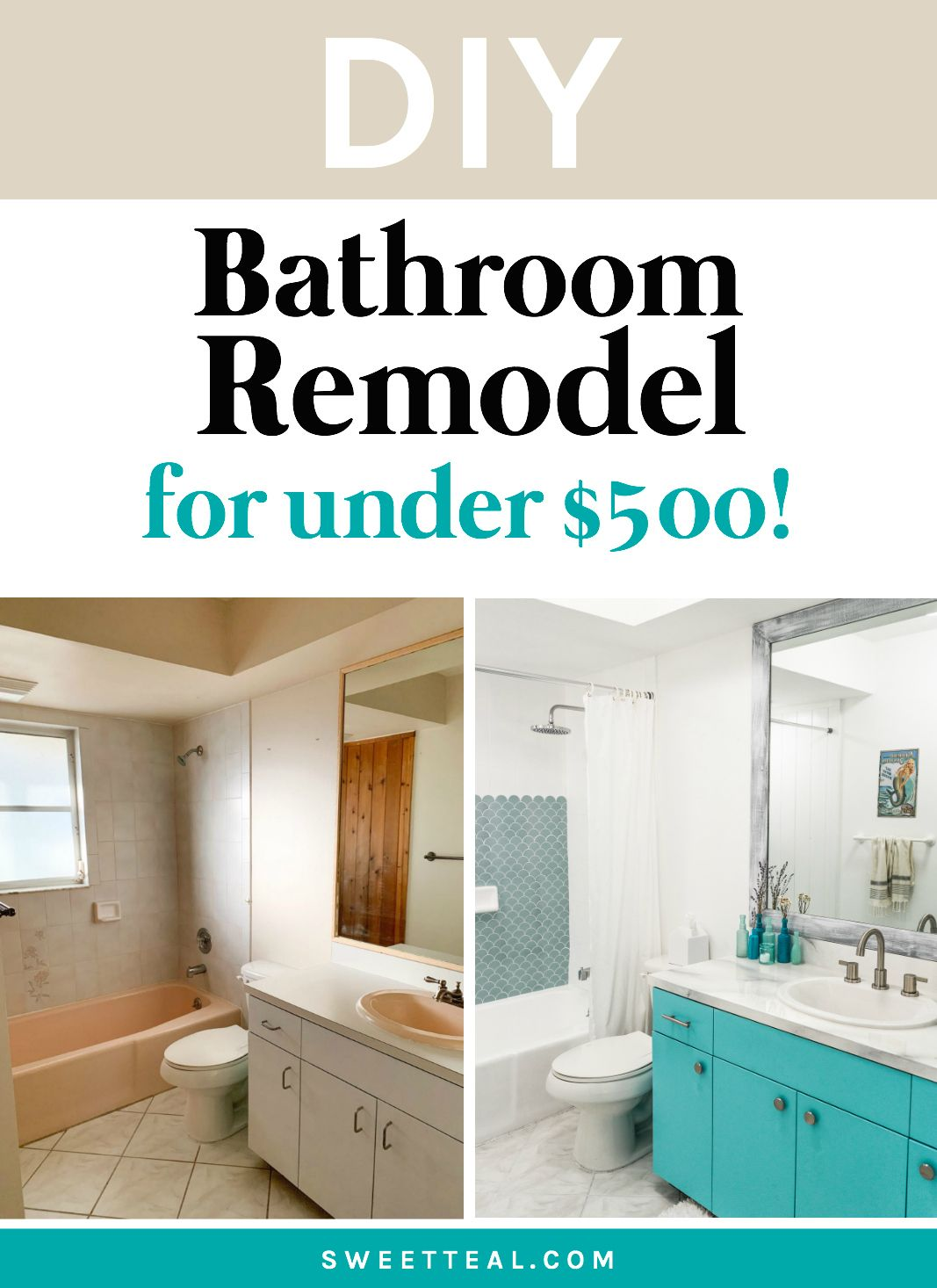 DIY Bathroom Remodel Under $500 | Coastal Bathroom Decor |Sweet Teal | Cheap Bathroom Remodel, Diy Bathroom Remodel, Bathroom Renovation Diy