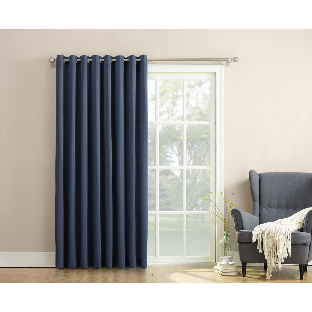 Sun Zero Semi Opaque Gregory 100 In By 84 In Solid Window Patio Panel Navy Blue Patio Door Curtains Sliding Patio Doors Patio Doors