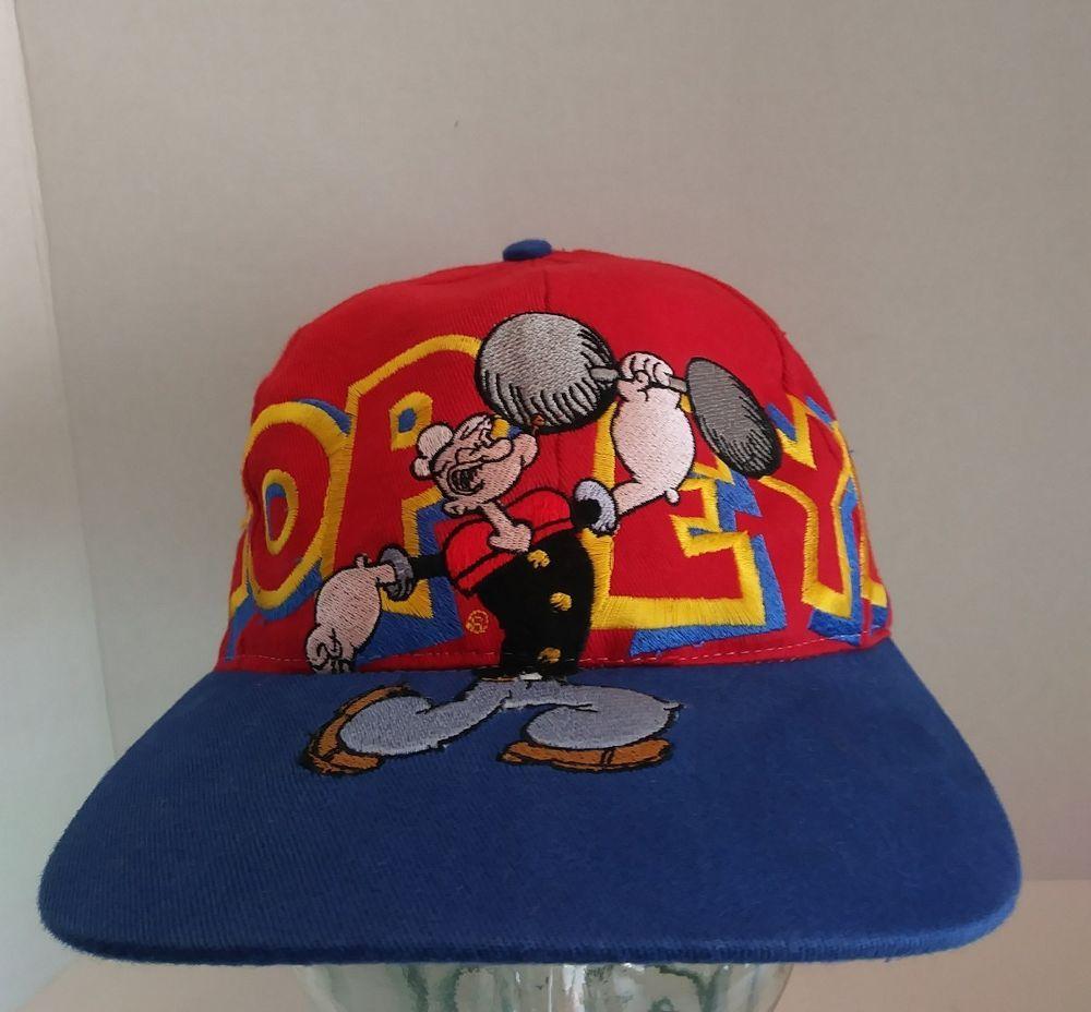 ceb7bd9fc07 VTG Popeye The Sailor Man Snapback Hat Embroidered Big Logo Cartoon 90s  Retro  HeadStartSportswear  BaseballCap