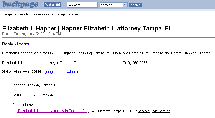 Elizabeth L Hapner Tampa Backpage  Elizabeth Hapner Divorce Lawyer Tampa Fl