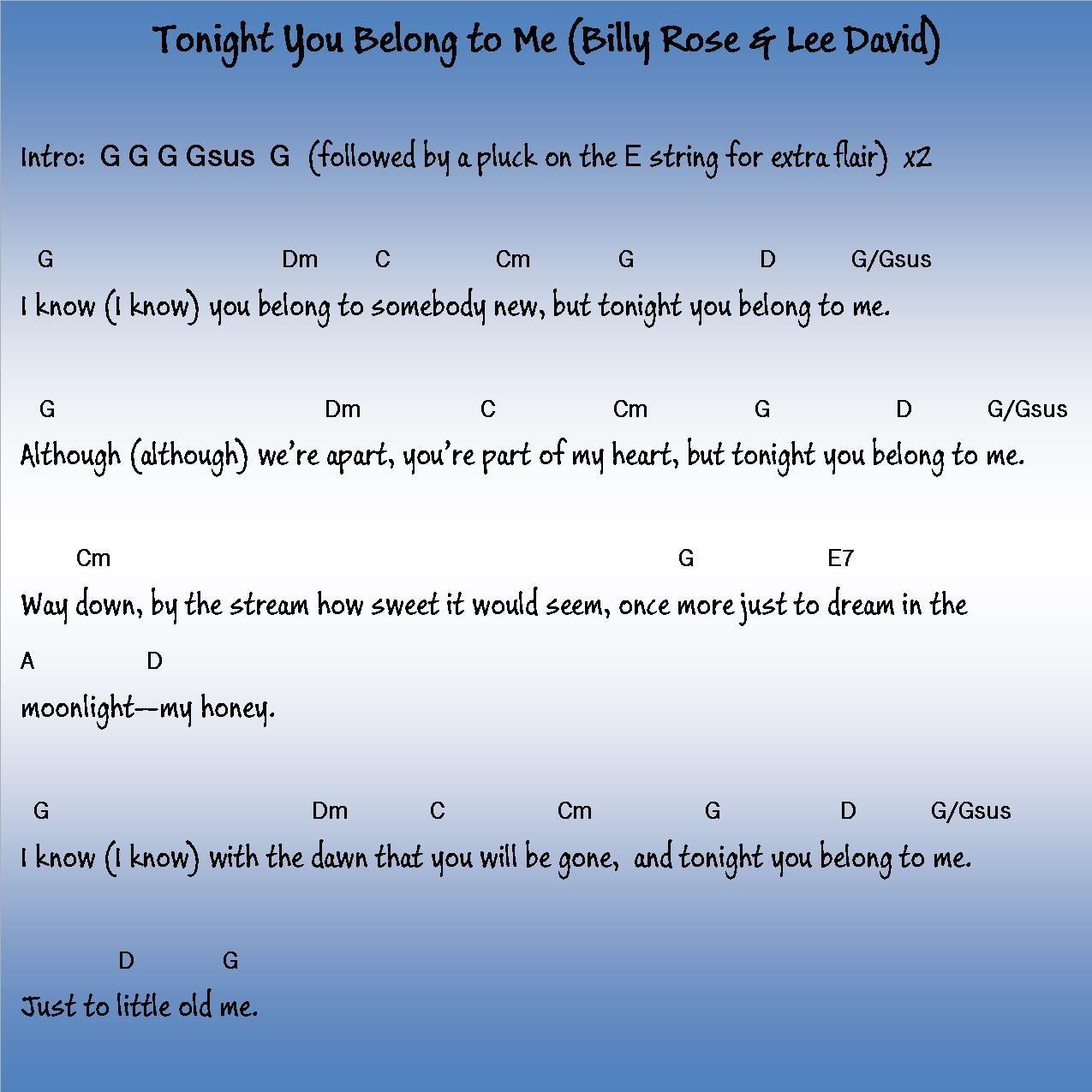 Tonight You Belong to Me   Ukulele songs, Ukulele, You belong