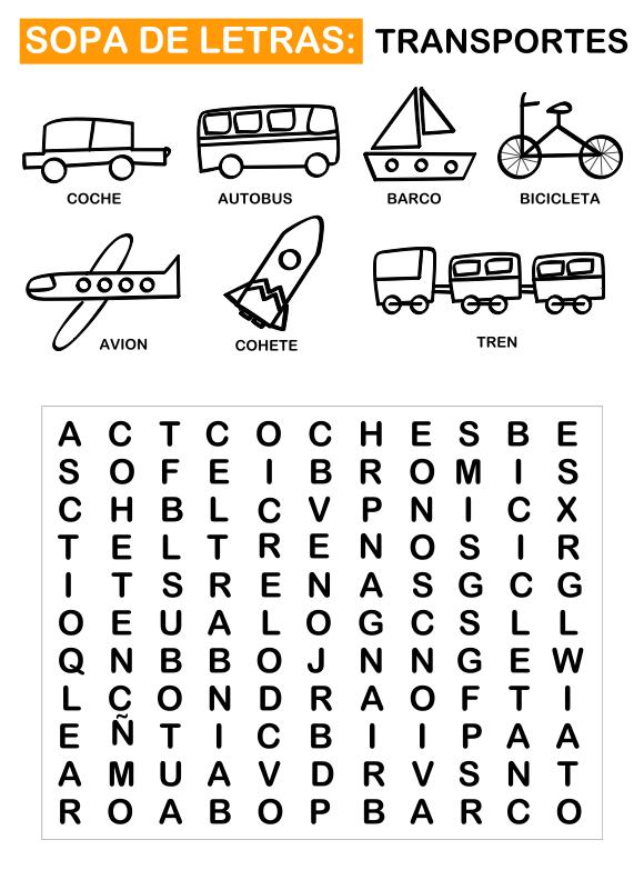 Aprender Los Transportes Manualidades Letras Para Niños Sopa De Letras Para Niños Actividades De Letras