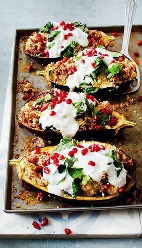 Auberginen mit Dattel-Mandel-Couscous und Minze Rezept | LECKER #vegetarianrecipes