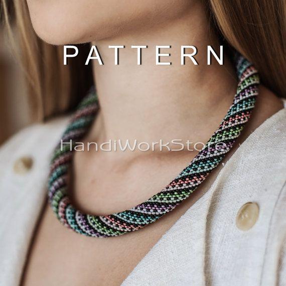 Bead crochet pattern Bead crochet necklace pattern multicolour ...
