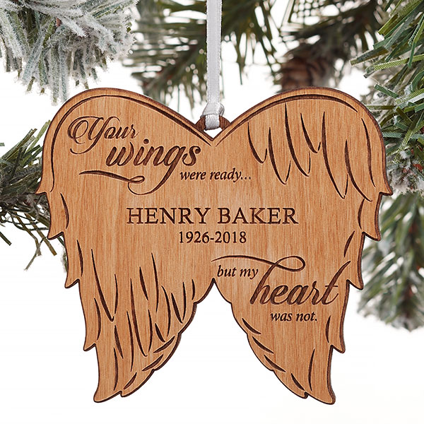 Personalized Angel Wings Memorial Natural Wood Ornament Memorial Ornaments Wood Christmas Ornaments Personalized Christmas Ornaments