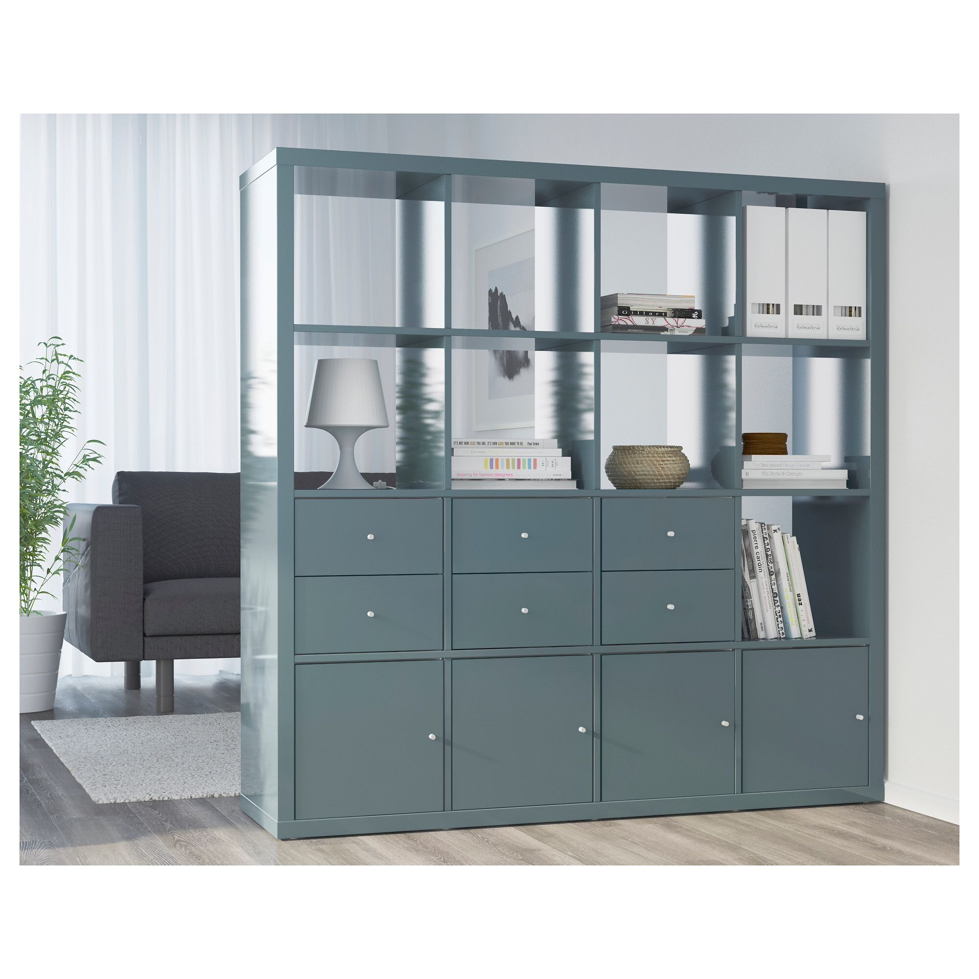 ikea kallax high gloss grey turquoise shelving unit | playroom/spare