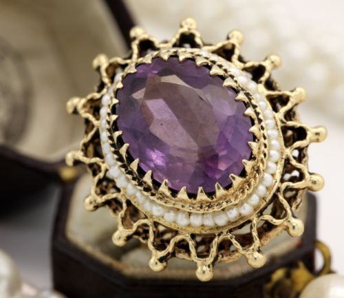 Antique C 1920 Art Deco 14k Yellow Gold Carved 7.12 Ct Amethyst Seed Pearl Ring! in Jewelry & Watches, Vintage & Antique Jewelry, Fine, Art Nouveau/Art Deco 1895-1935, Rings | eBay