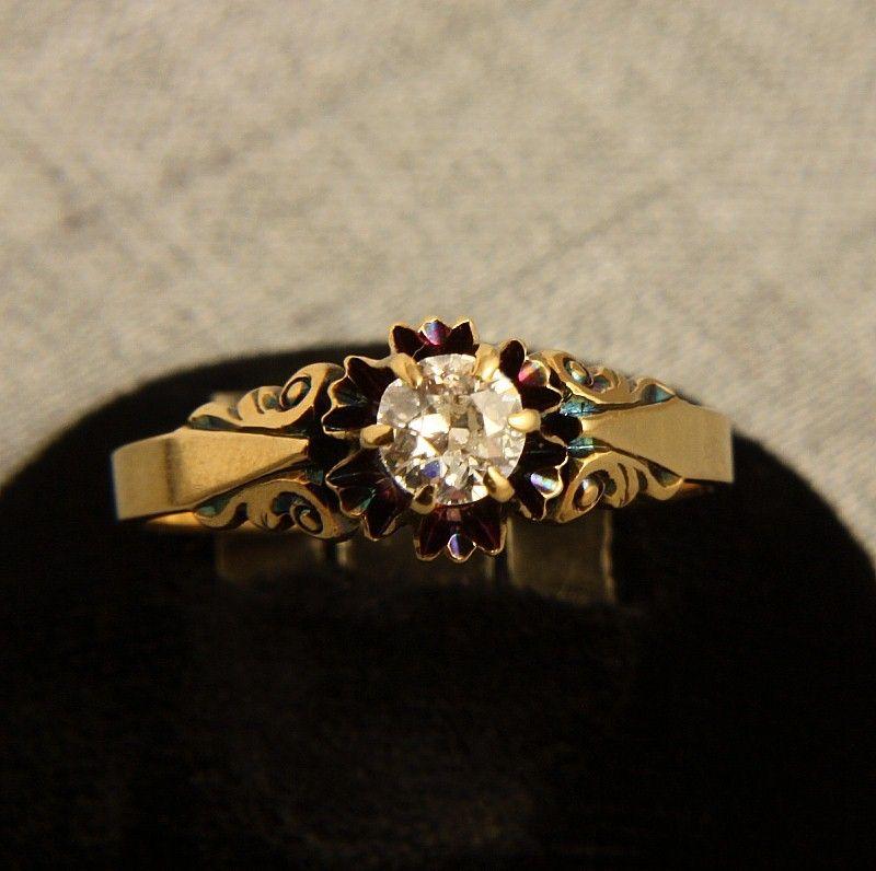 Ladies 14K Yellow Gold Diamond - 1/3 Carat Mine Cut Diamond