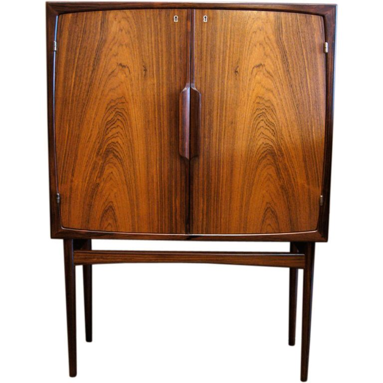 Norwegian Mid Century Modern Bar Cabinet In Rosewood From A Unique Collection Of Antique