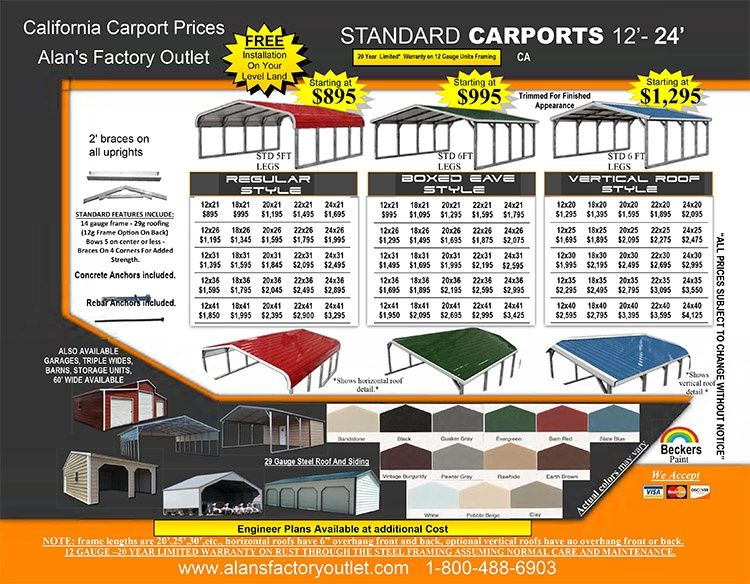 California Metal Carport Prices Steel Garages Price List Ca 2 2 1