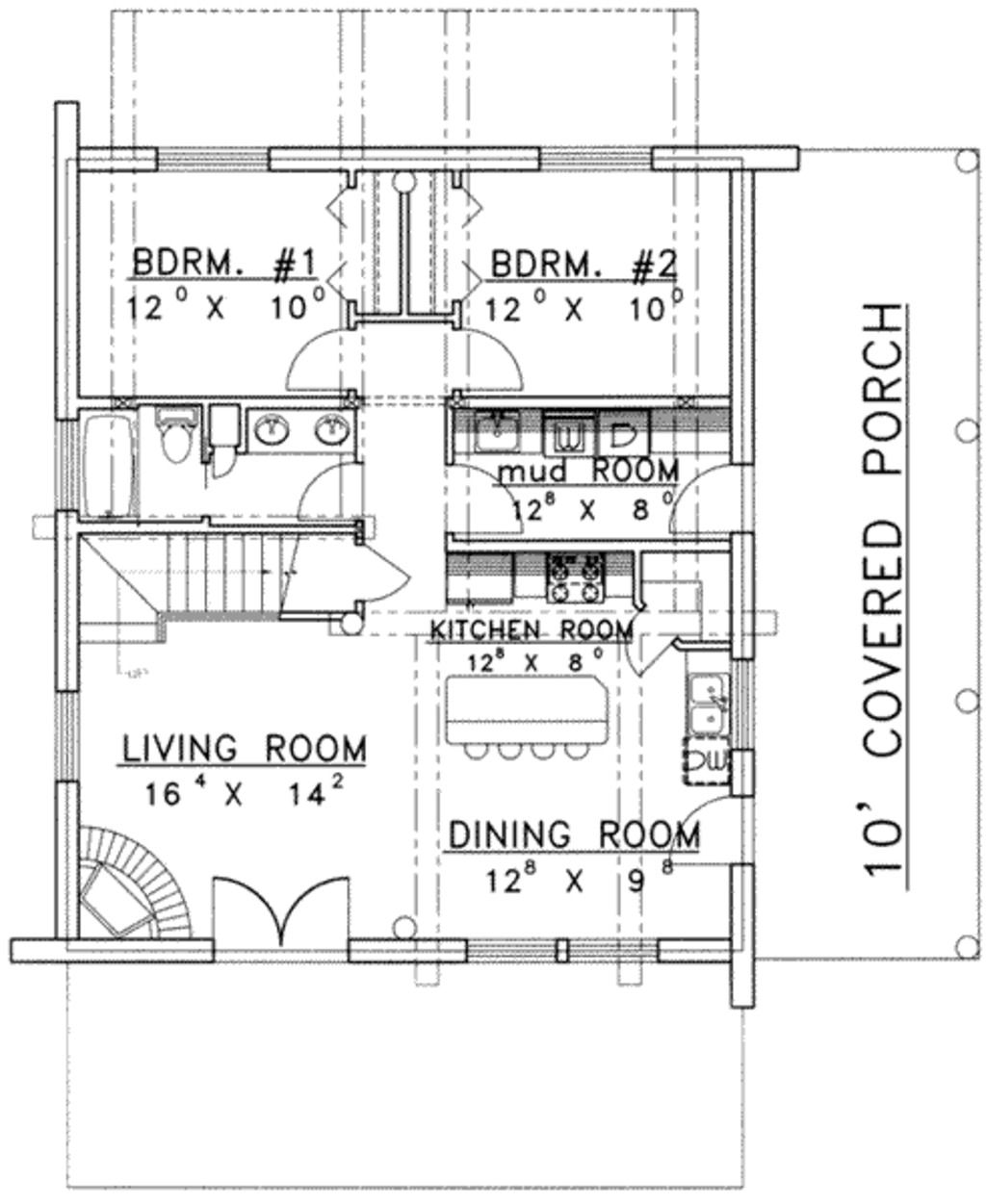 Log Style House Plan 2 Beds 2 Baths 1830 Sq Ft Plan 117 484 Mother In Law Apartment In Law House House Plan With Loft