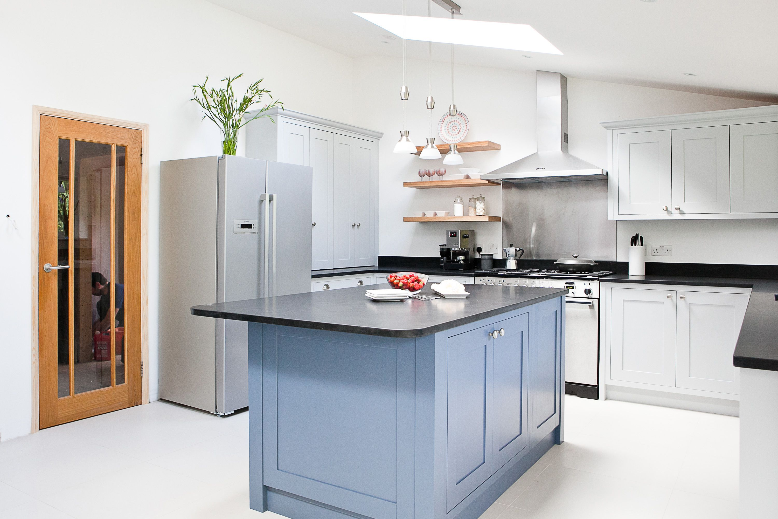 17 best images about maple u0026 gray kitchens on pinterest traditional white shaker - Blue Grey Kitchen Cabinets
