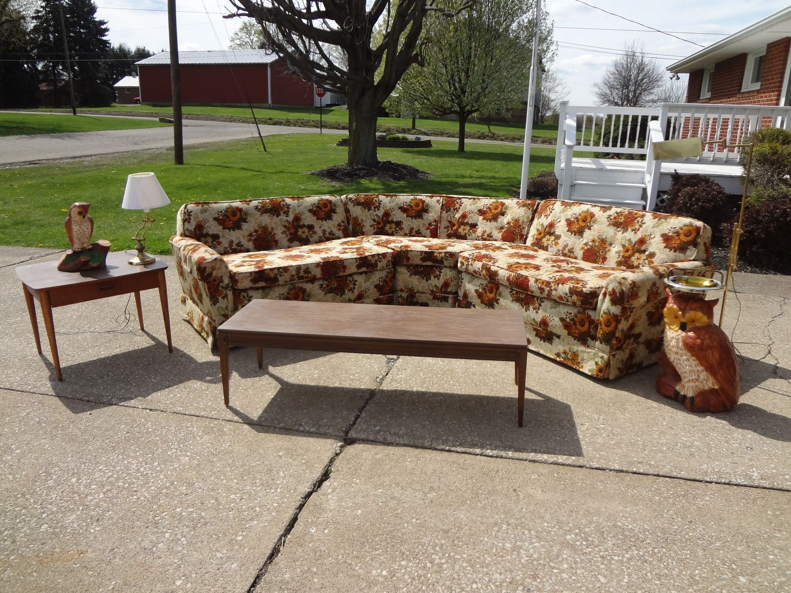 Vintage Mid Century Modern Retro Couch Sofa Floral Sectional Lounge
