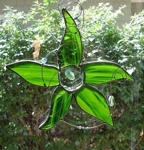Star Flower in Moss Green Stained Glass Suncatcher
