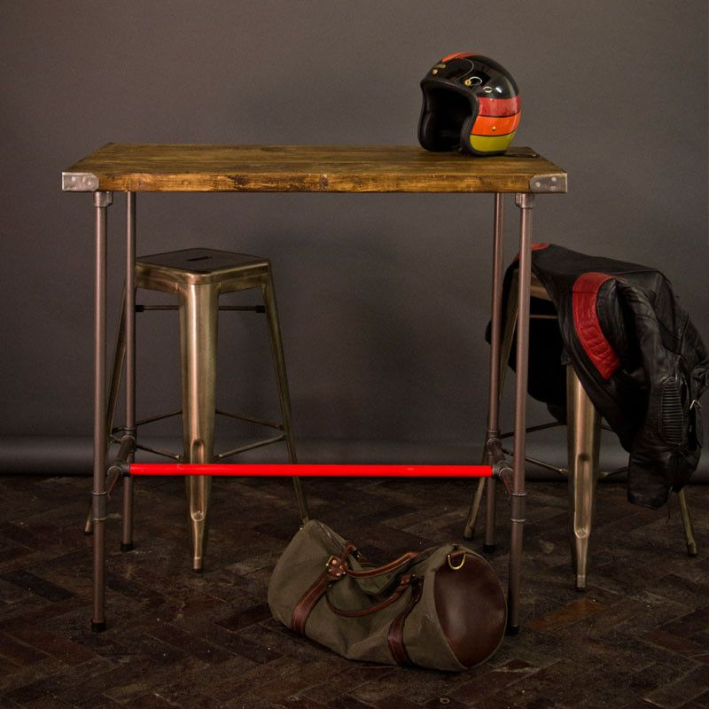 High Gas Pipe Breakfast Bar Kitchen Table Reclaimed: Medium -Industrial Pipe Leg Reclaimed Wood Table