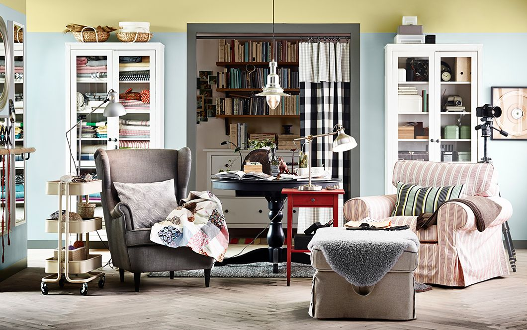 Love The Mix And Match Of This Room Great Inspiration For Our New One Living With Two IKEA Armchairs Footstool Side Tables Bookcases