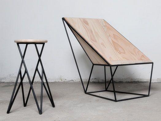 Linon Chair And Stool By Alberto Vitelio