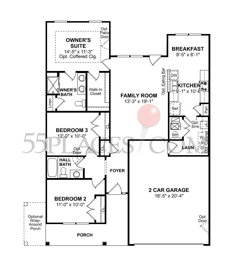 Calhoun floorplan 1200 sq ft the villages at red for 1200sft floor plan