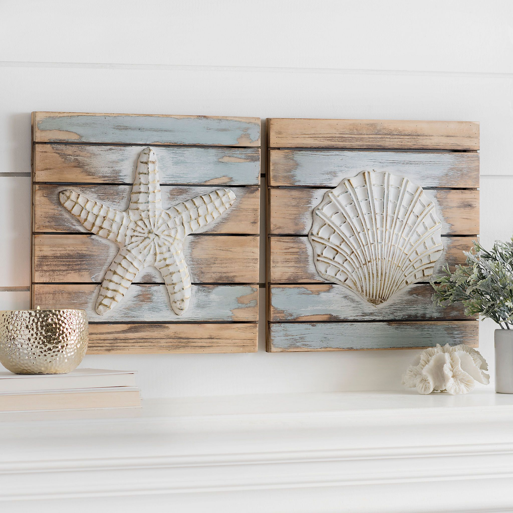 Coastal Icons Wood Plank Wall Plaques Set Of 2 Kirklands Planked Wall Art Wood Plank Walls Coastal Decor