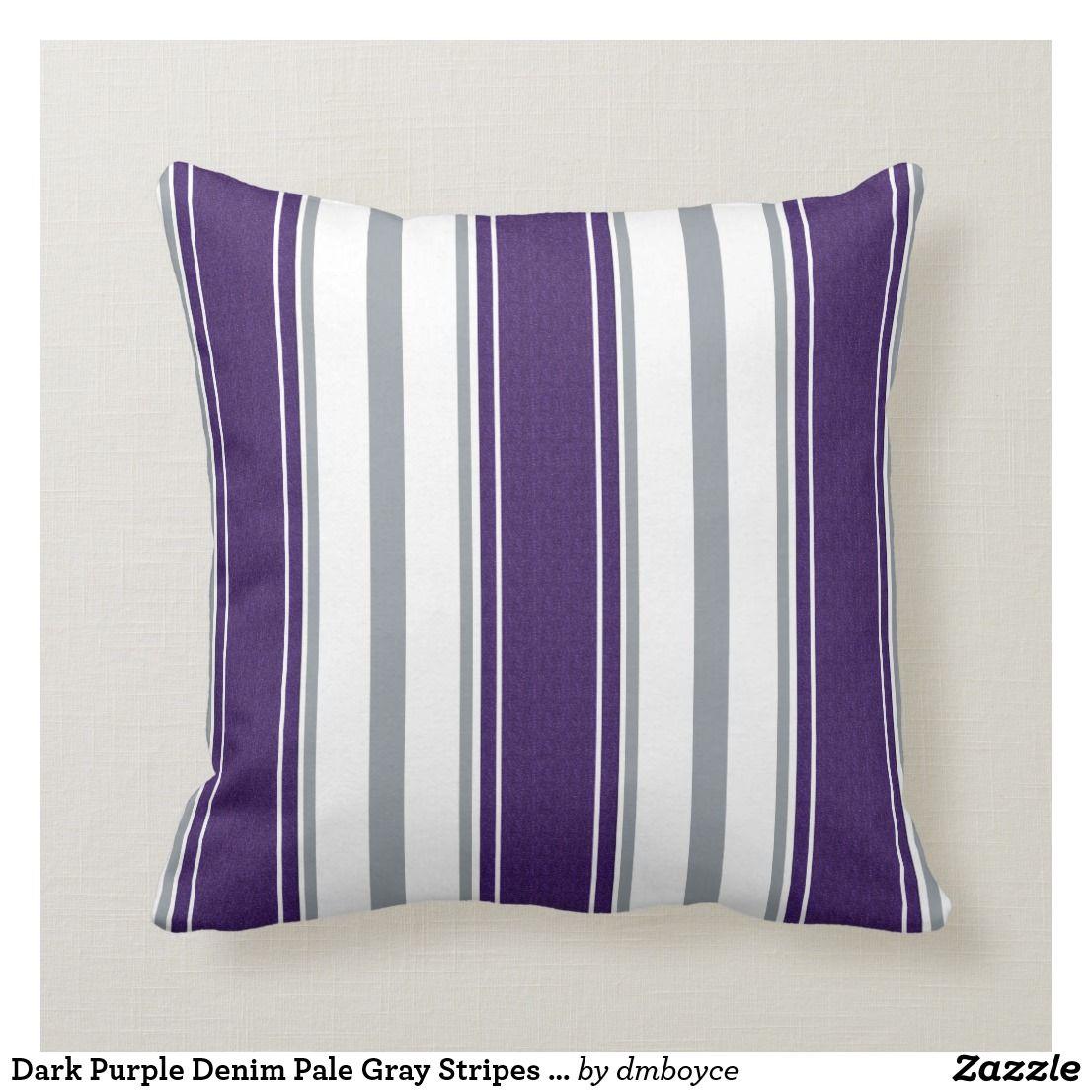 Dark Purple Denim Pale Gray Stripes Pattern | Throw Pillow | Zazzle.com