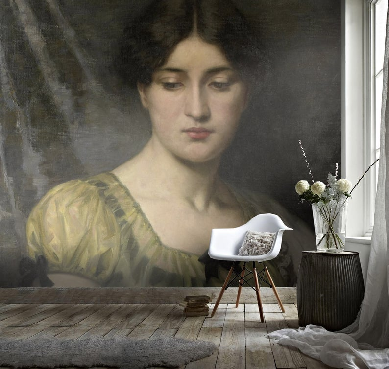 3D Oil painting, retro woman Wallpaper, Removable Self