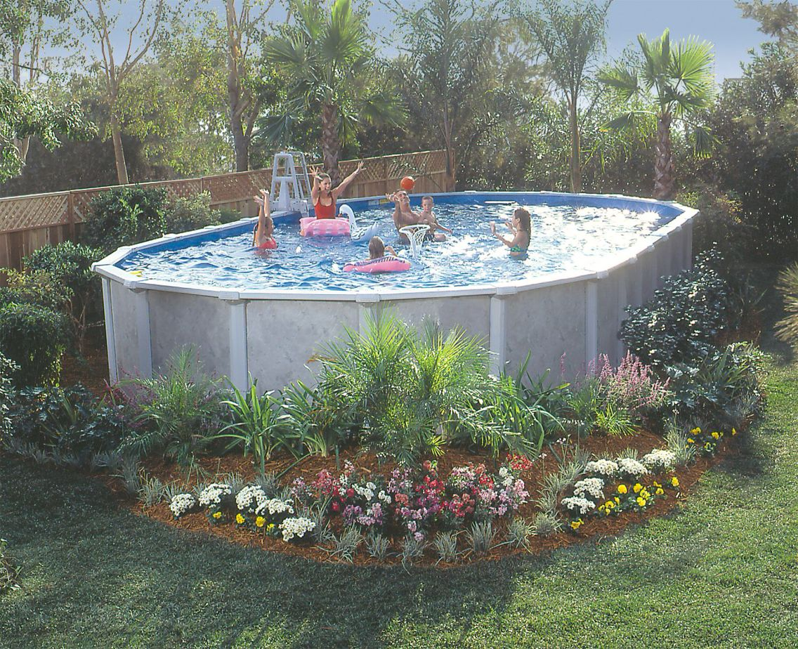 landscaping around above ground pool beautiful yard pinterest