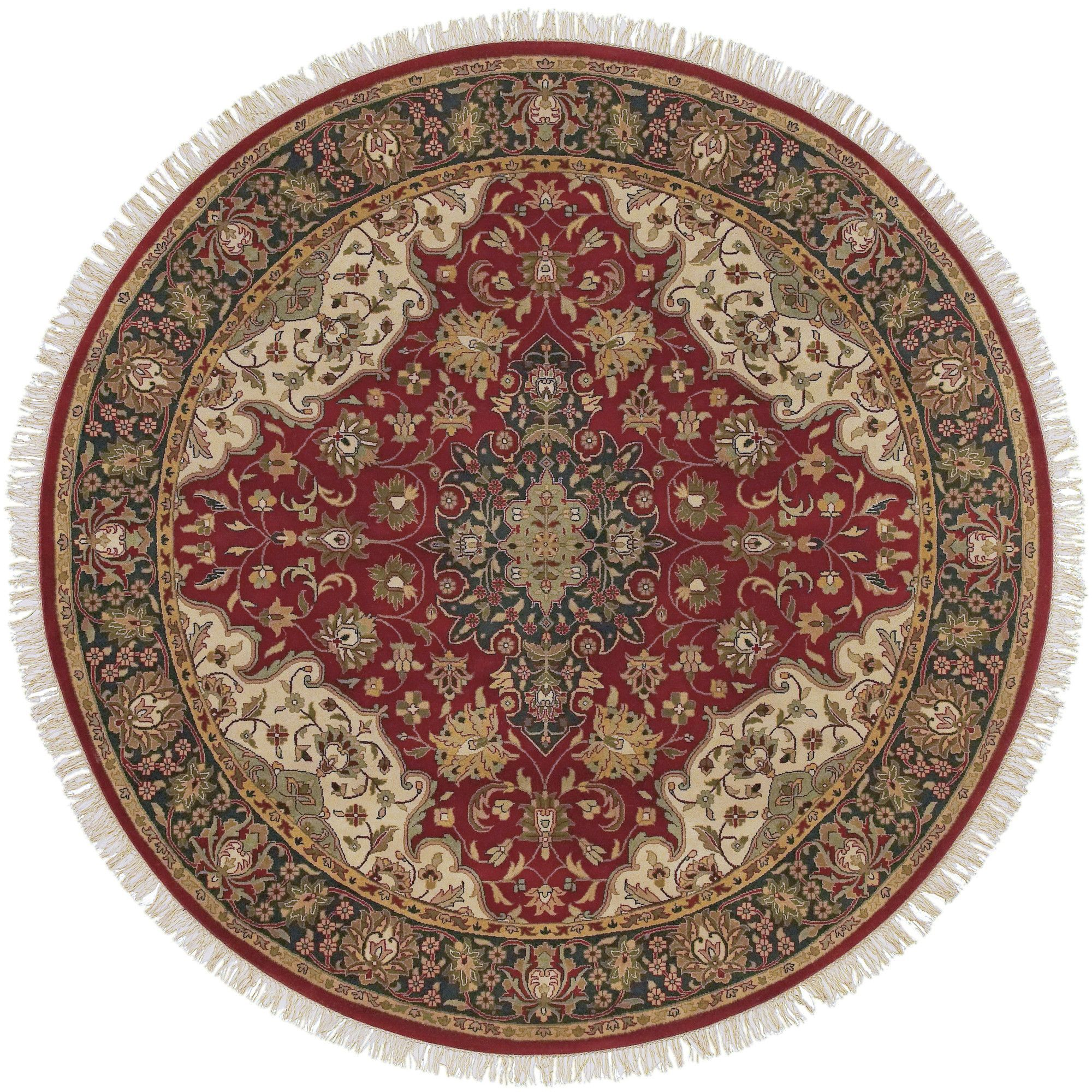 Barlett Hand-Knotted Dark Red Area Rug