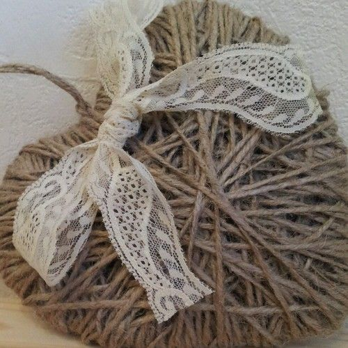 shabby chic twine / jute hanging heart - heartstrings - with vintage lace. weddings / gifts / home decoration / just because
