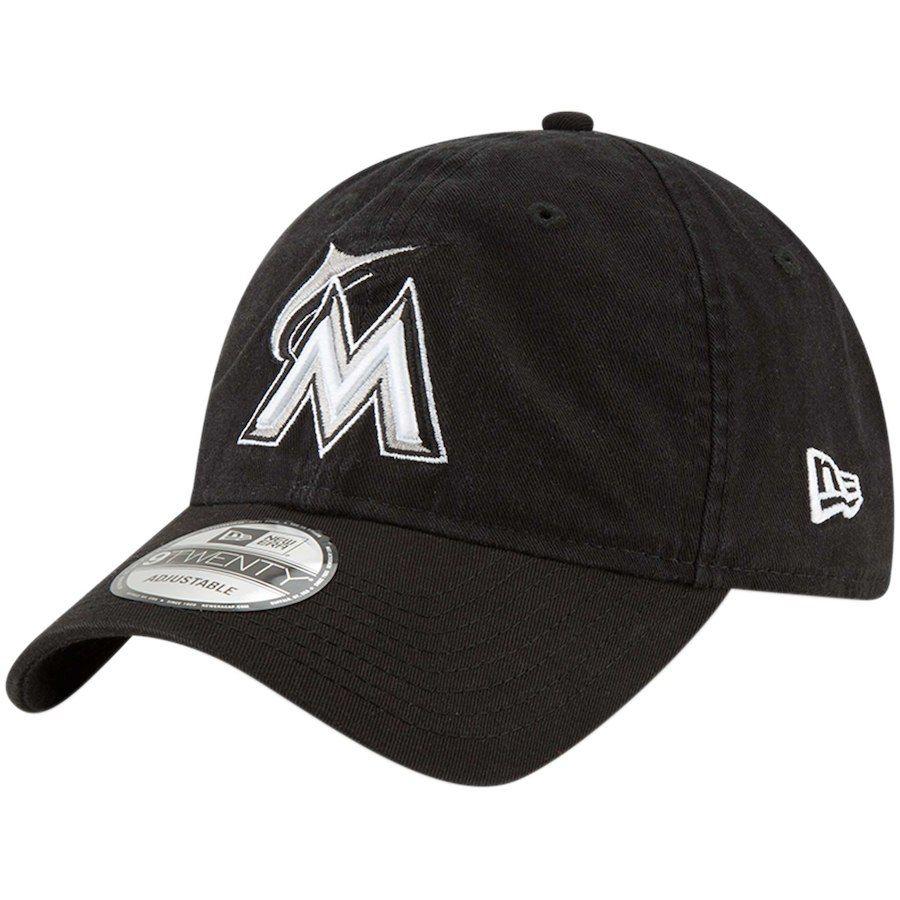 e90ebc91d3b Men s Miami Marlins New Era Black Core Classic Twill 9TWENTY Adjustable Hat