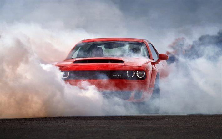 Download Wallpapers Dodge Challenger Srt 2018 Cars Smoke