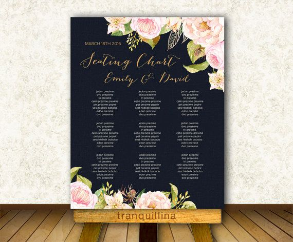 Wedding Seating Sign Printable Navy Seating Chart Navy  Pink