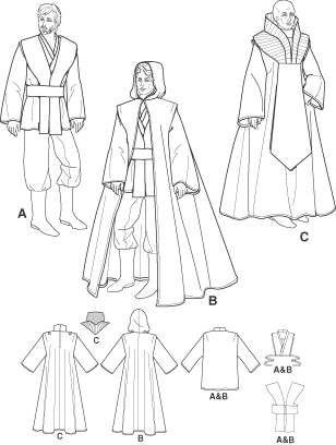 simplicity-4450-sewing-pattern-star-wars-costume-jedi-robe-anakin-xs ...