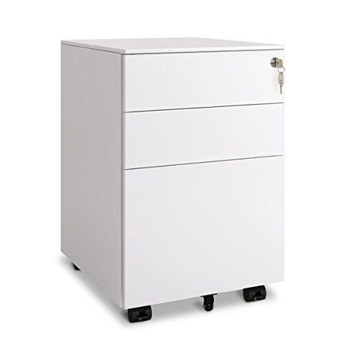 Devaise 3 Drawer Metal File Cabinet With Lock Open From Side White