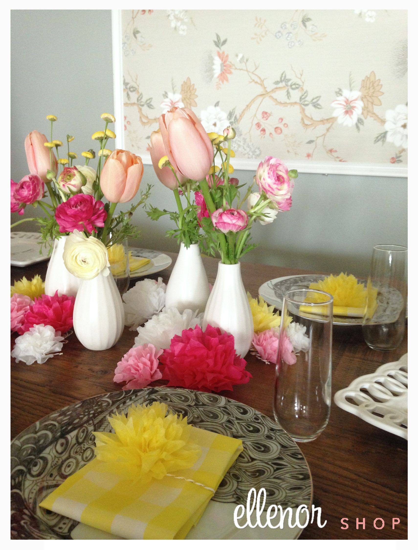 Spring Brunch Table Setting Lovely Yellow Napkins Flower Napkin