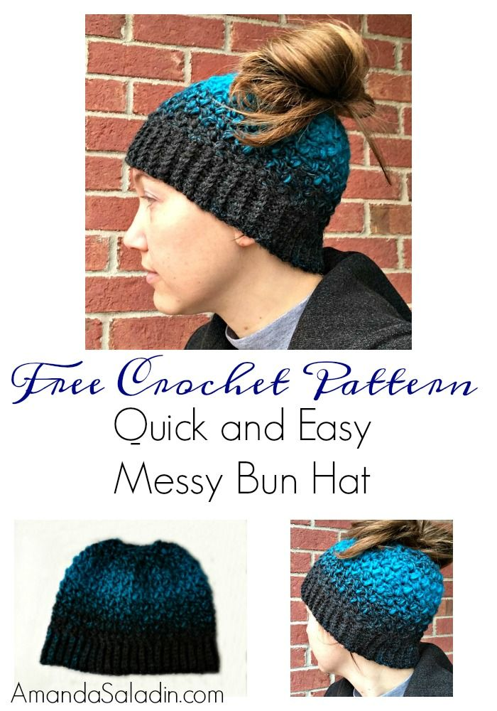 Free Crochet Pattern - Quick and Easy Messy Bun Hat from Amanda Saladin d359ad3b623