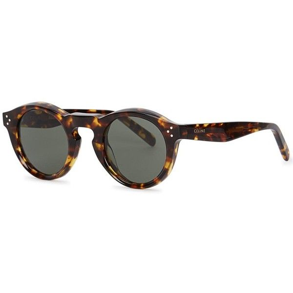Céline Bevel Tortoiseshell Round-frame Sunglasses (2 640 SEK) ❤ liked on  Polyvore featuring accessories ce680c3305cfc